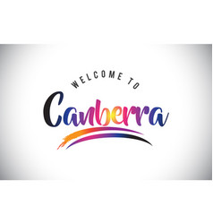 Canberra welcome to message in purple vibrant vector