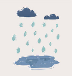 cartoon rain drops clouds and vector image