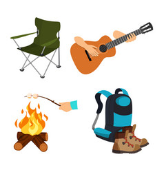 Cartoon se camp chair guitar marshmallow backpack vector