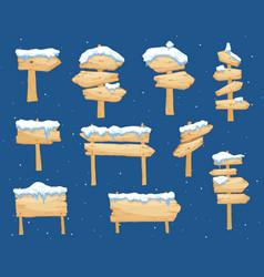 cartoon wooden winter sign with snow cap vector image