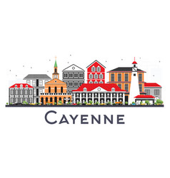 Cayenne french guiana city skyline with color vector
