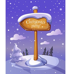 Christmas sign board on winter background vector