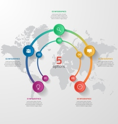 Circle infographic template with 5 vector