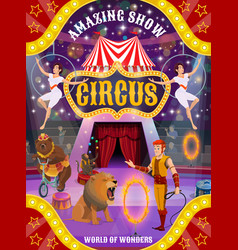 Circus show with animals trainer and air acrobats vector