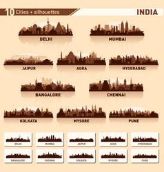 city skyline set 10 silhouettes india vector image