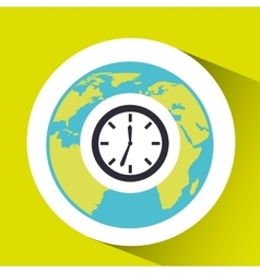 Clock time social media world map vector