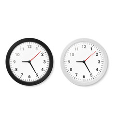 Clocks with round black and white borders hanging vector