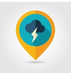 Cloud Lightning flat pin map icon Weather vector