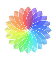 color rainbow wheel flower on white stock vector image