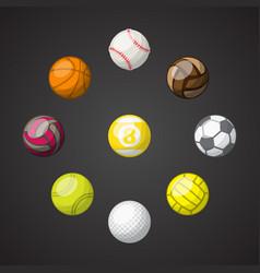 Color sport balls set background vector