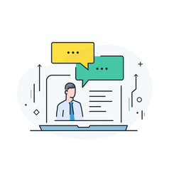 communication with a business partner online vector image