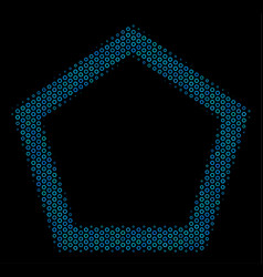 Contour pentagon collage icon of halftone circles vector