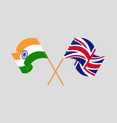 Crossed and waving flags india and uk vector
