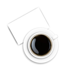 Cup coffee and plate white background vector