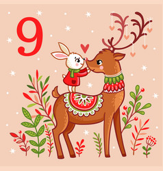 Cute bunny standing on christmas reindeer vector