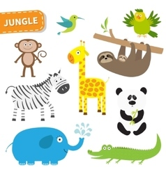 Cute jungle animal set Cute cartoon character vector image