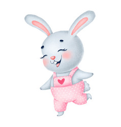 Cute little gray bunny girl in pink overalls vector