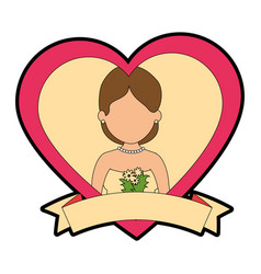 cute wife with heart vector image