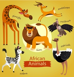 Cute wild african animals vector