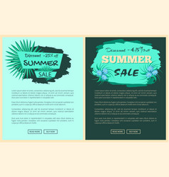 discount 25 and 45 percent summer sale promotion vector image