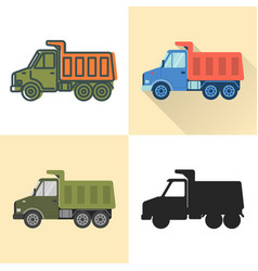 dump truck icon set in flat and line styles vector image