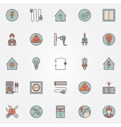 Electricity colorful icons vector