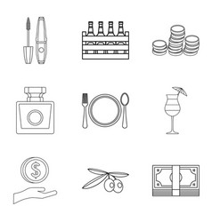 Expensive pleasure icons set outline style vector