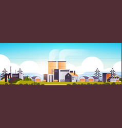 Factory manufacturing buildings industrial zone vector