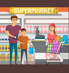 father with son shopping at supermarket banner vector image