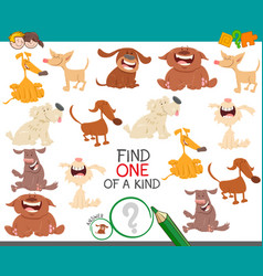 find one dog a kind game for children vector image