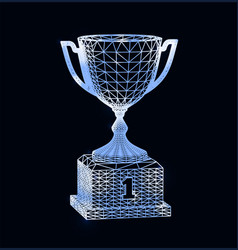 first place award cup with polygonal grid on dark vector image