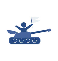 flat hand-drawn cartoon tank vector image