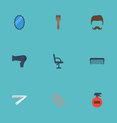 flat icons razor bristle moustache and other vector image