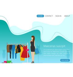 flat racks with clothes on hangers girl shopping vector image