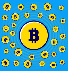 Flying gold flat bitcoins pattern background of vector