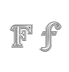 Font tattoo engraving letter F vector image