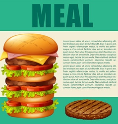 Food theme with hamburger vector image
