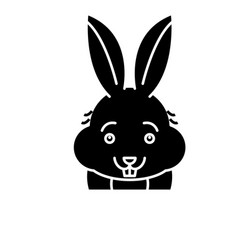 funny rabbit black icon sign on isolated vector image