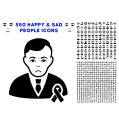 gentleman with mourning ribbon icon with bonus vector image