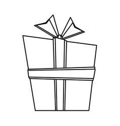 giftbox present cartoon isolated in black and vector image