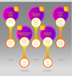 glass rounds info-graphic with yellow and purple vector image