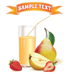 Glass with juice pear and strawberry vector