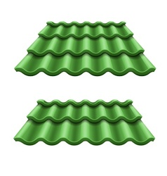 Green corrugated tile element vector image