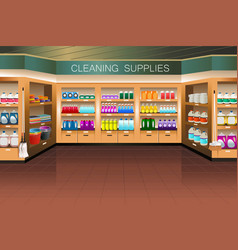 Grocery store cleaning supply section vector