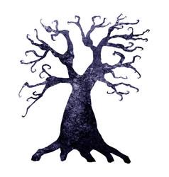 Halloween silhouette of watercolor terrible tree vector