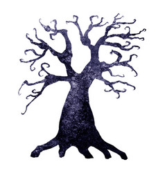 halloween silhouette watercolor terrible tree vector image
