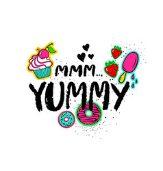 Hand drawn lettering with sweets vector