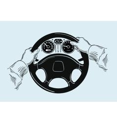 Hands on the wheel sketch vector