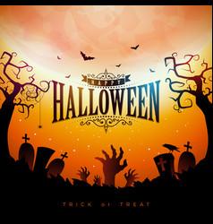 Happy halloween banner with moon vector