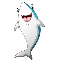 happy shark cartoon vector image